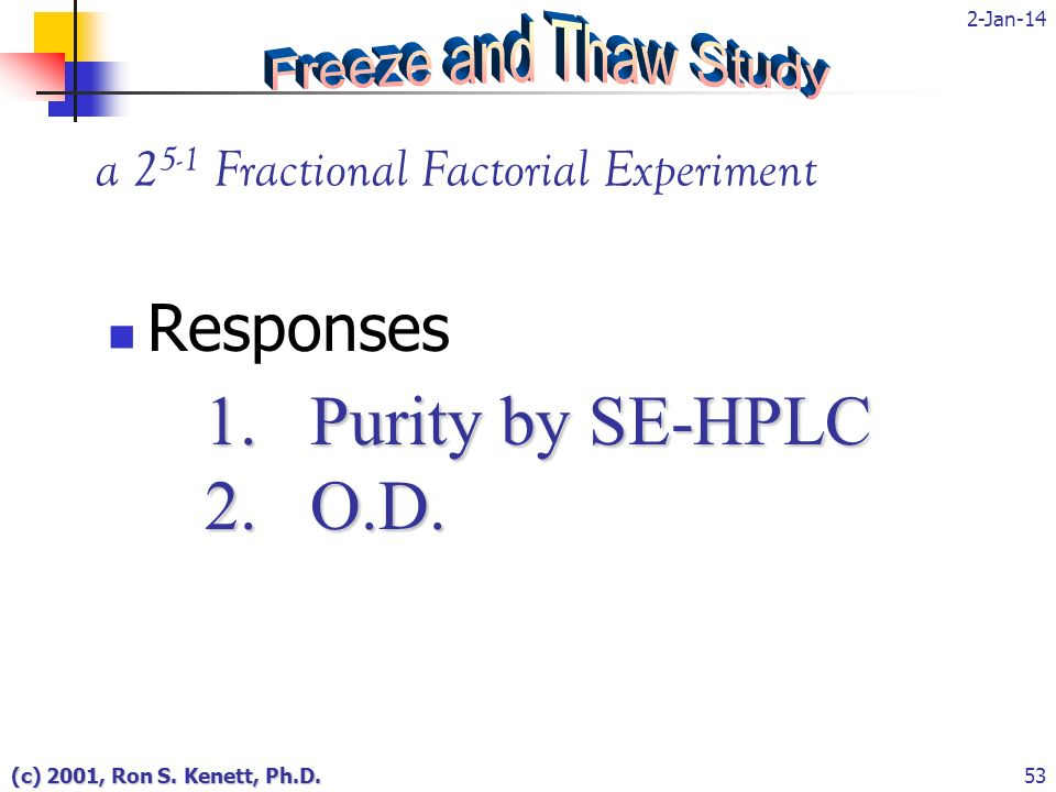 2-Jan-14 (c) 2001, Ron S. Kenett, Ph.D.53 a 2 5-1 Fractional Factorial Experiment 1. Purity by SE-HPLC 2. O.D. Responses