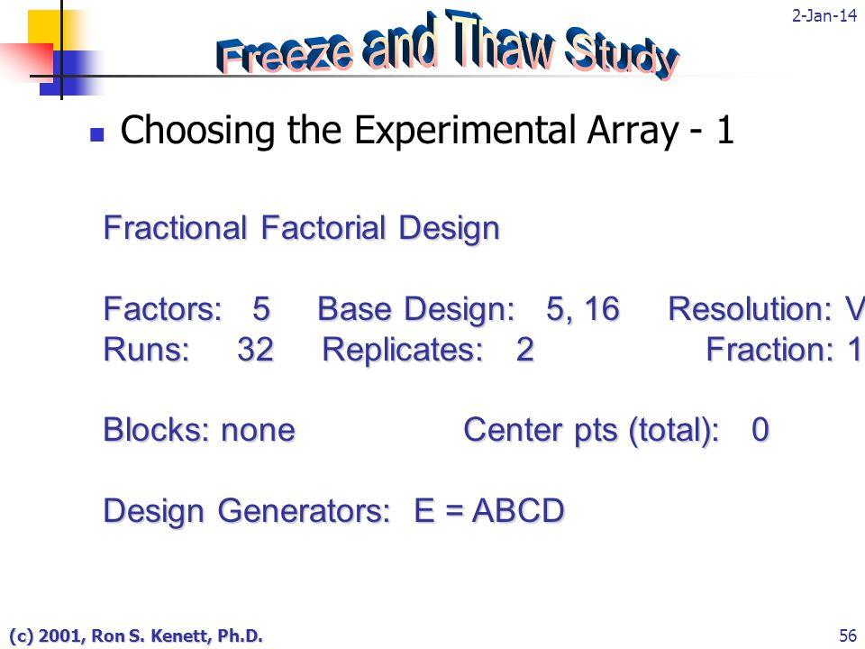 2-Jan-14 (c) 2001, Ron S. Kenett, Ph.D.56 Choosing the Experimental Array - 1 Fractional Factorial Design Factors: 5 Base Design: 5, 16 Resolution: V