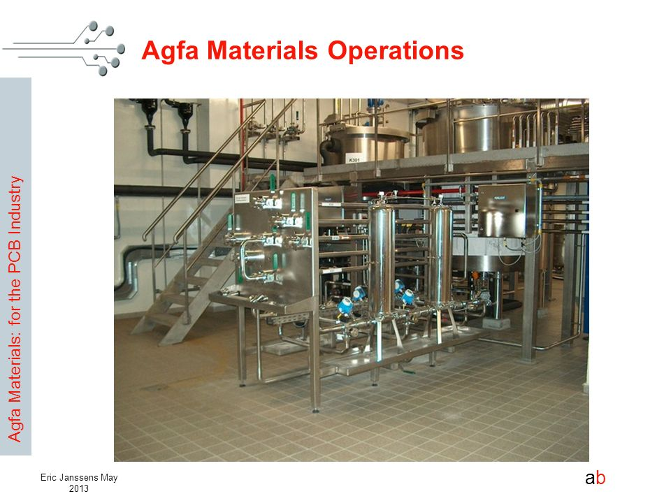 Agfa Materials: for the PCB Industry abab Eric Janssens May 2013 Agfa Materials Operations