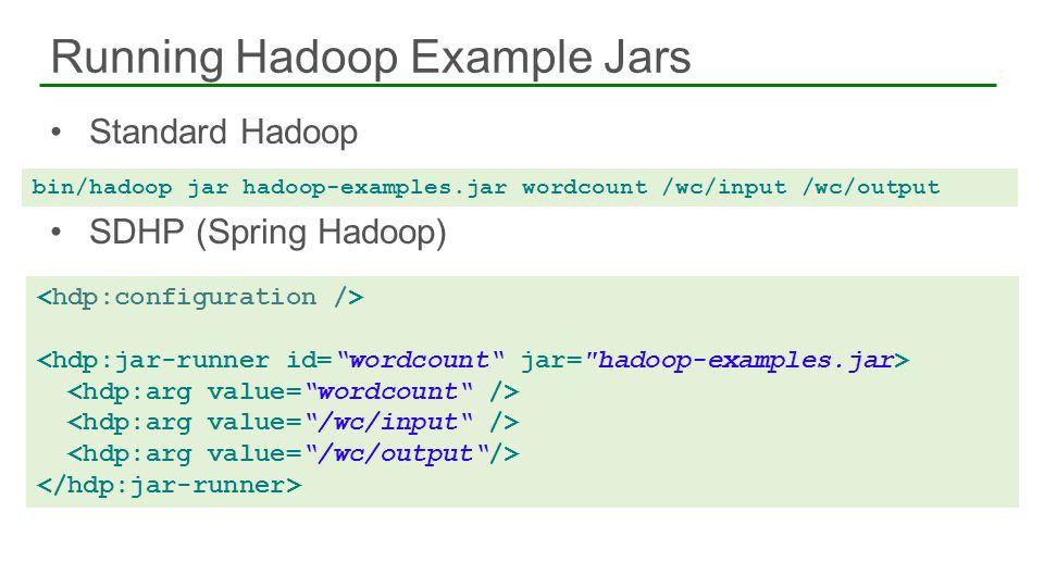 Standard Hadoop SDHP (Spring Hadoop) Running Hadoop Example Jars 23 bin/hadoop jar hadoop-examples.jar wordcount /wc/input /wc/output