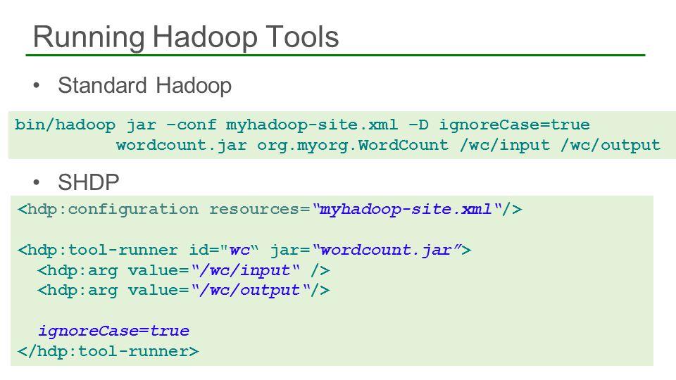 Standard Hadoop SHDP Running Hadoop Tools 24 bin/hadoop jar –conf myhadoop-site.xml –D ignoreCase=true wordcount.jar org.myorg.WordCount /wc/input /wc