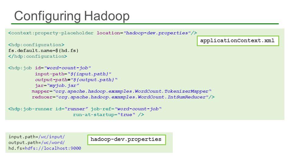 Configuring Hadoop 25 fs.default.name=${hd.fs} <hdp:job id=