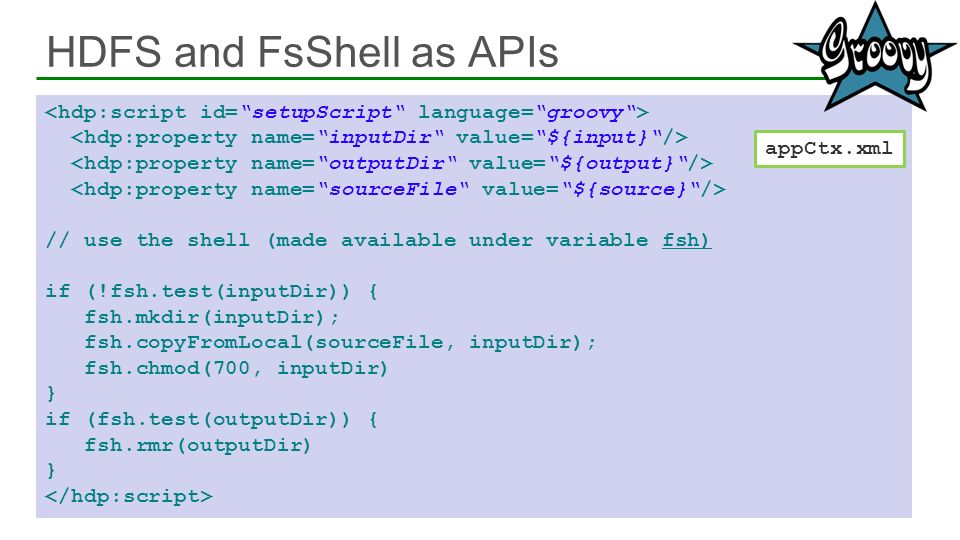 HDFS and FsShell as APIs // use the shell (made available under variable fsh) if (!fsh.test(inputDir)) { fsh.mkdir(inputDir); fsh.copyFromLocal(source