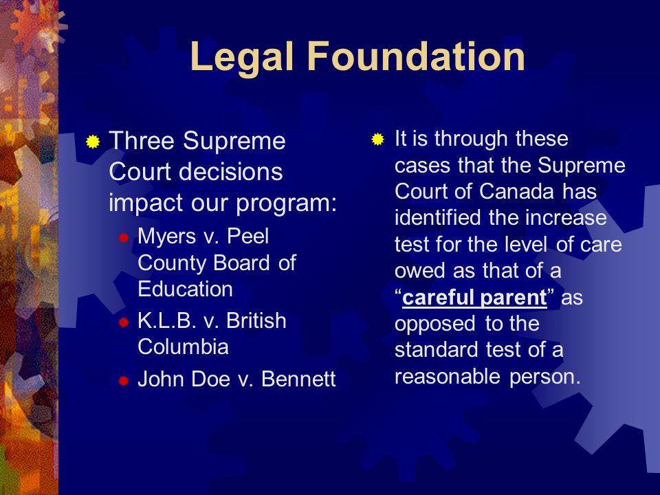 Legal Foundation Three Supreme Court decisions impact our program: Myers v. Peel County Board of Education K.L.B. v. British Columbia John Doe v. Benn