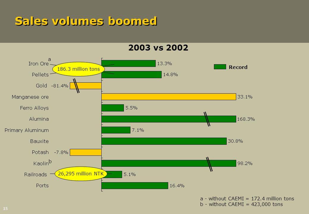 15 Sales volumes boomed 2003 vs 2002 186.3 million tons 26,295 million NTK a a - without CAEMI = 172.4 million tons b - without CAEMI = 423,000 tons b