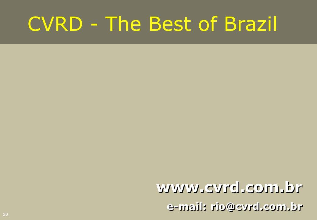 30 www.cvrd.com.br e-mail: rio@cvrd.com.br www.cvrd.com.br e-mail: rio@cvrd.com.br CVRD - The Best of Brazil