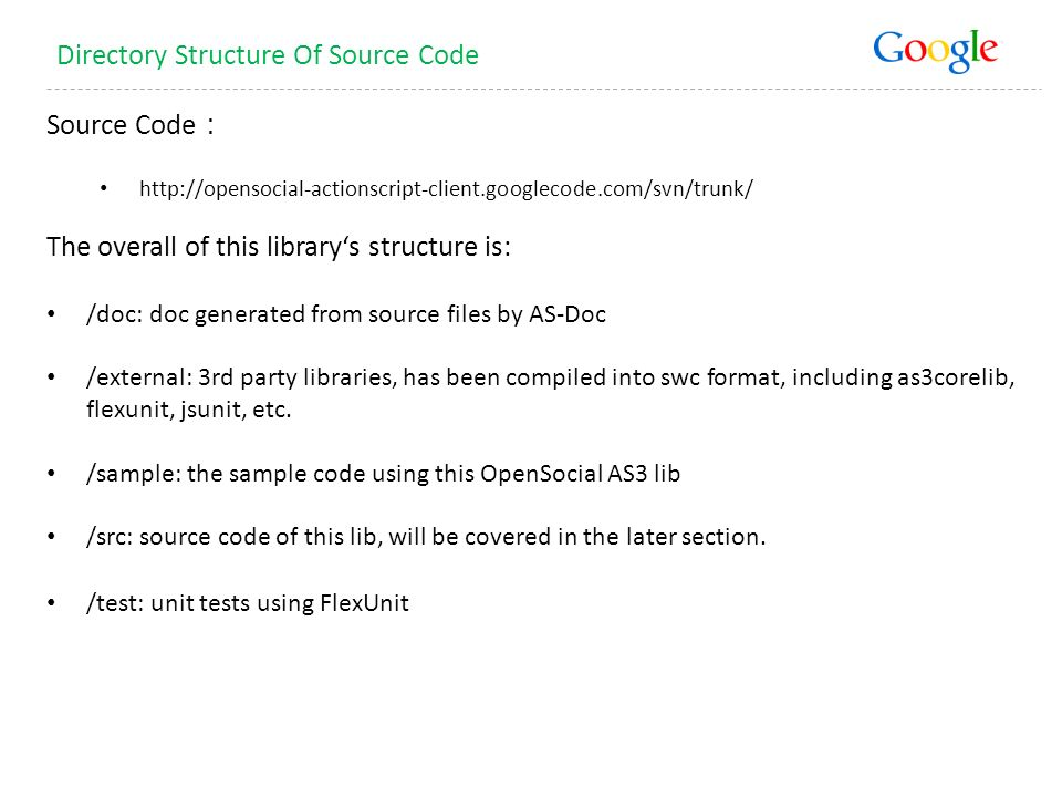 Source Code   The overall of this librarys structure is: /doc: doc generated from source files by AS-Doc /external: 3rd party libraries, has been compiled into swc format, including as3corelib, flexunit, jsunit, etc.