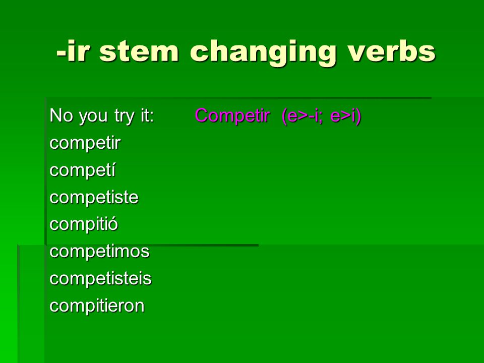 -ir stem changing verbs No you try it:Competir (e>-i; e>i) competircompetícompetistecompitiócompetimoscompetisteiscompitieron