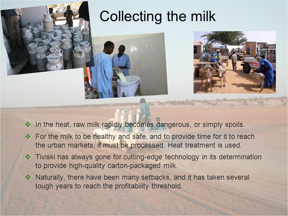 In the heat, raw milk rapidly becomes dangerous, or simply spoils. For the milk to be healthy and safe, and to provide time for it to reach the urban