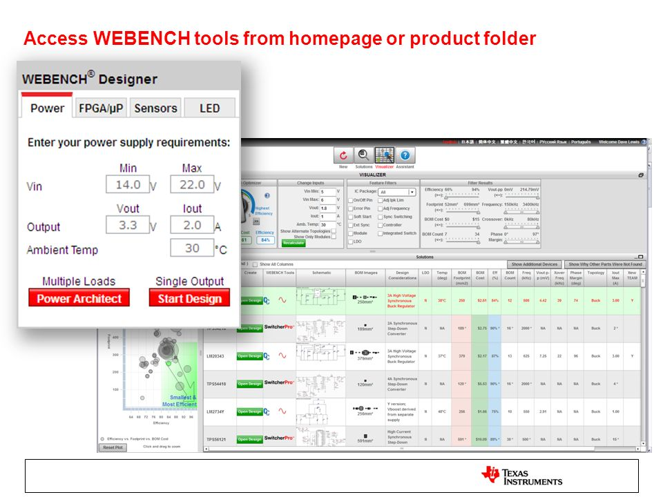 Access WEBENCH tools from homepage or product folder 10