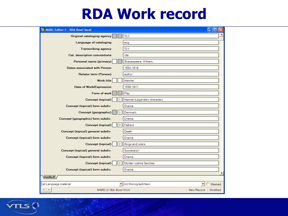 RDA Work record