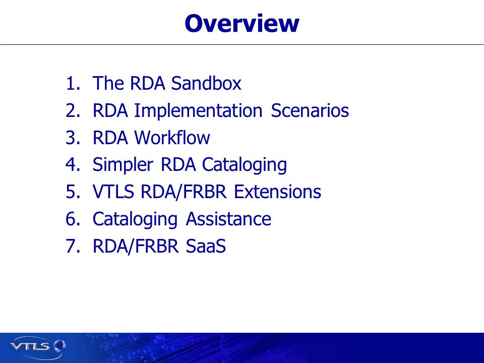 The RDA Sandbox A place to test/practice/play with RDA Implementation Scenario One Full Cataloging capability Original cataloging Copy cataloging FRBRizing of MARC records Authority control Item records Serials control