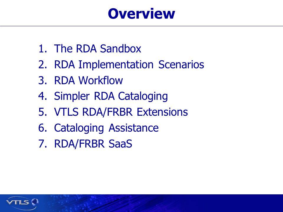 Overview 1.The RDA Sandbox 2.RDA Implementation Scenarios 3.RDA Workflow 4.Simpler RDA Cataloging 5.VTLS RDA/FRBR Extensions 6.Cataloging Assistance 7.RDA/FRBR SaaS