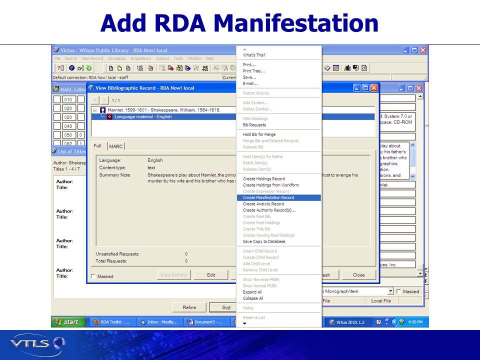 Add RDA Manifestation