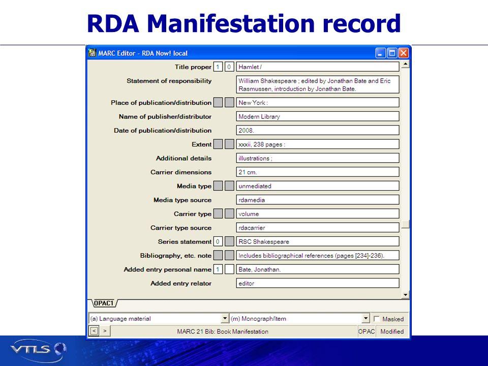 RDA Manifestation record
