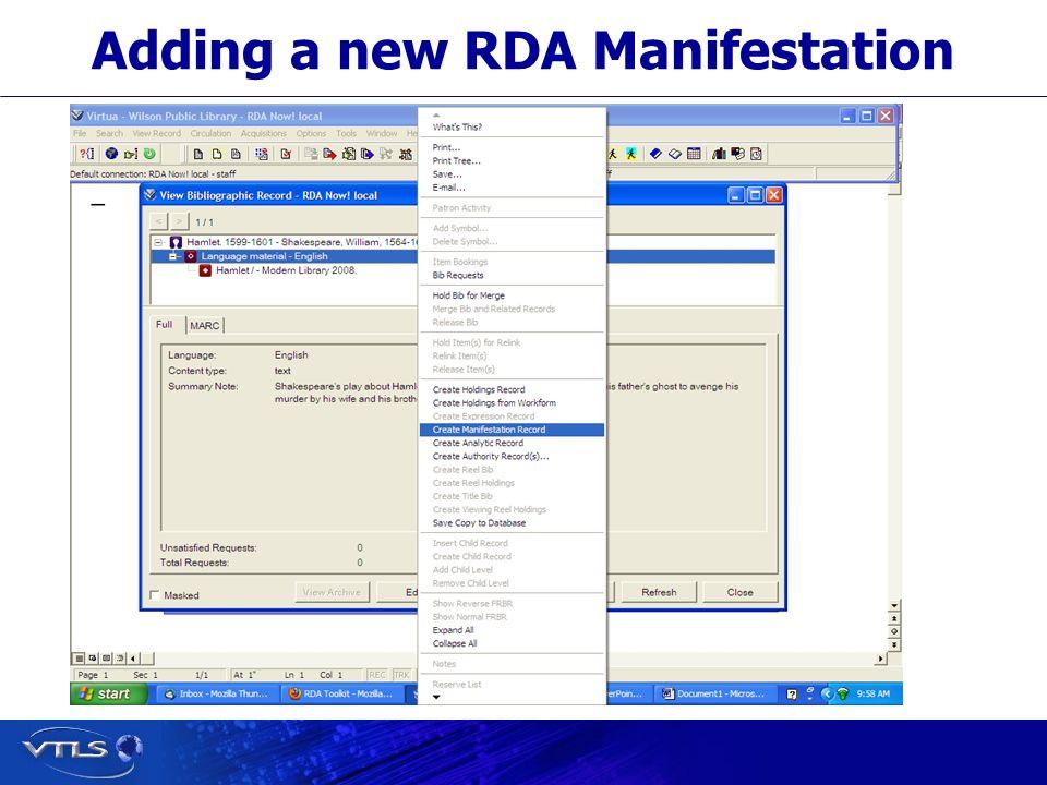 Adding a new RDA Manifestation