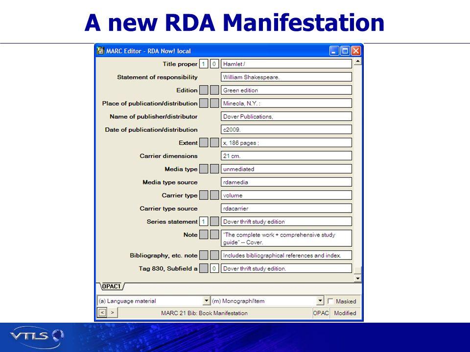 A new RDA Manifestation