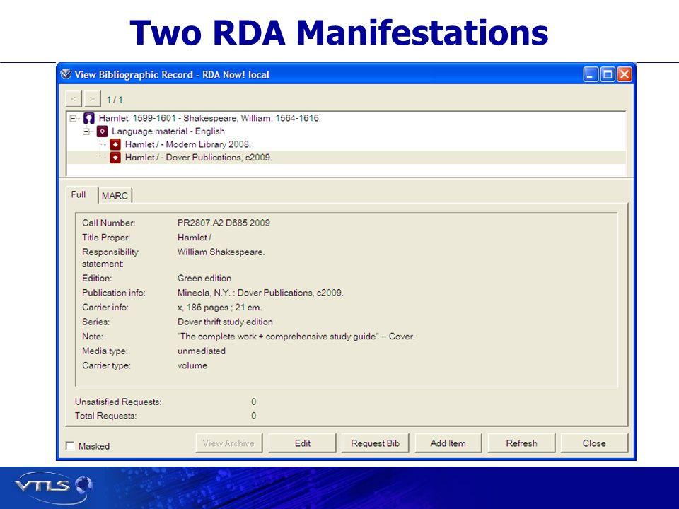 Two RDA Manifestations