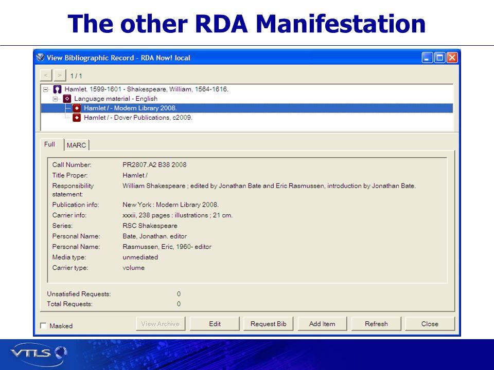 The other RDA Manifestation