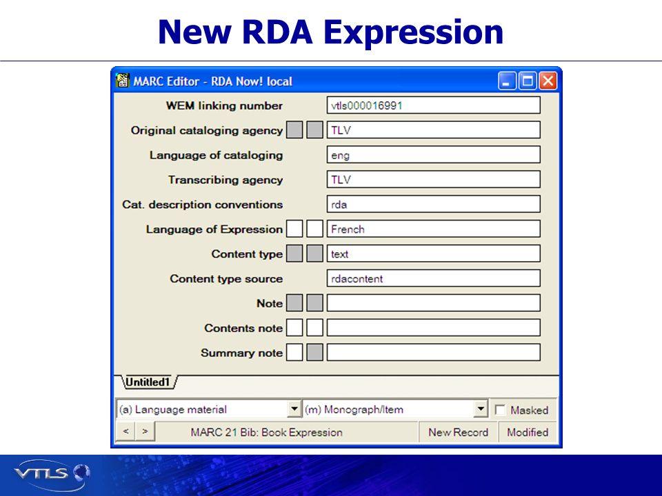 New RDA Expression