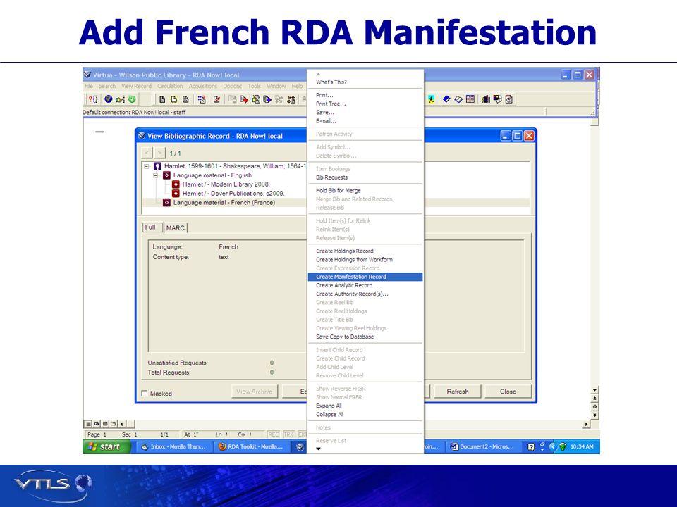 Add French RDA Manifestation