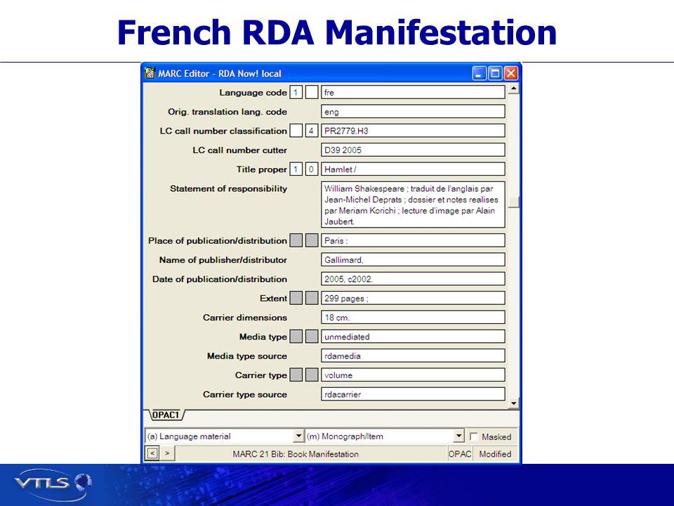 French RDA Manifestation