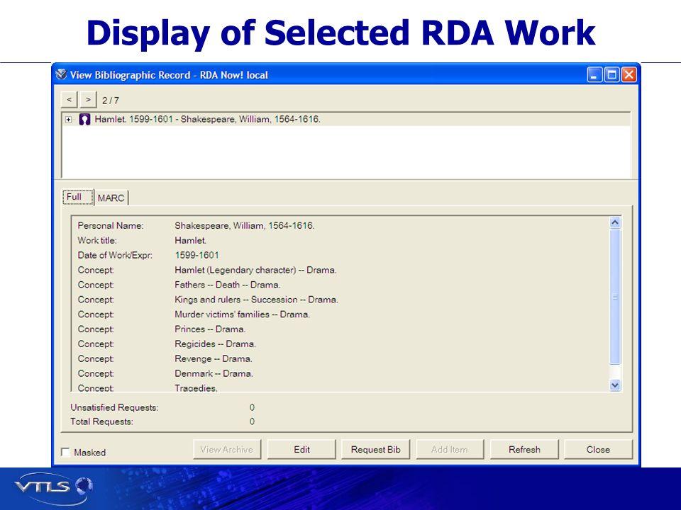 Display of Selected RDA Work