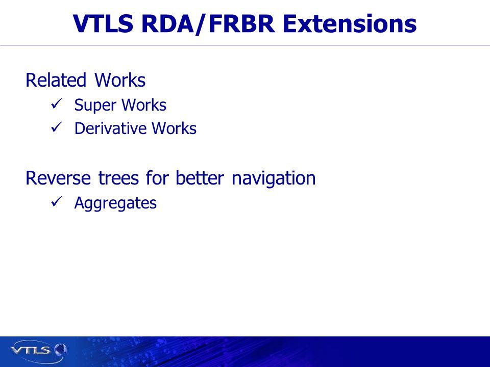 VTLS RDA/FRBR Extensions Related Works Super Works Derivative Works Reverse trees for better navigation Aggregates
