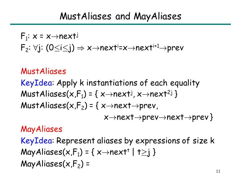 10 MustAliases and MayAliases F 1 : x = x . next j F 2 : 8 j: (0 · i · j) ) x .