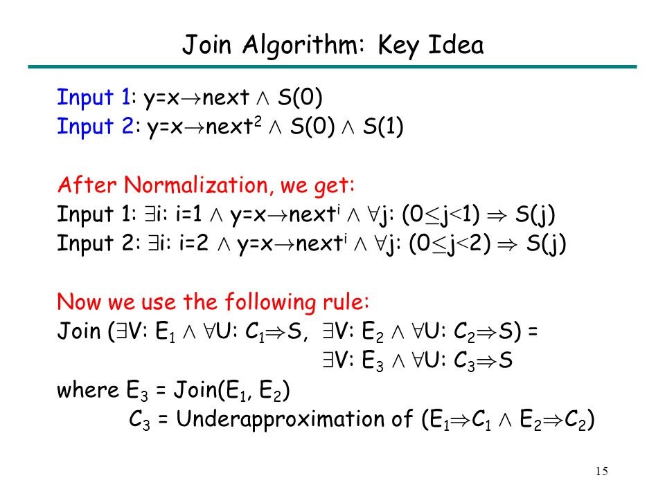 14 Join Algorithm: Key Idea Input 1: y=x ! next Æ S(0) Input 2: y=x ! next 2 Æ S(0) Æ S(1) After Normalization, we get: Input 1: 9 i: i=1 Æ y=x ! next
