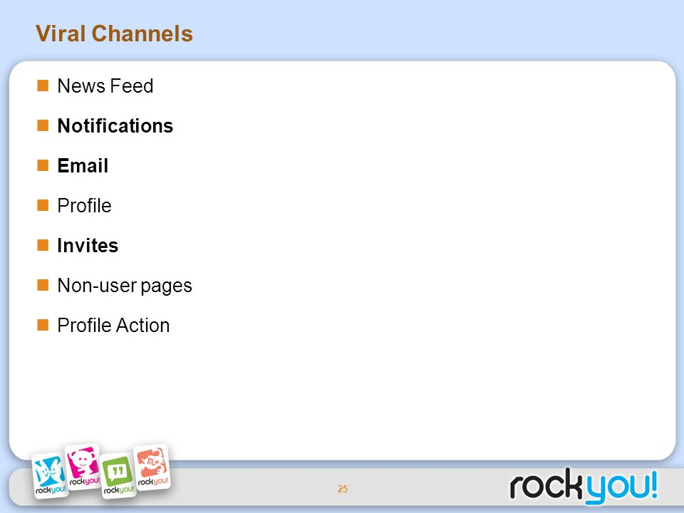 25 Viral Channels News Feed Notifications Email Profile Invites Non-user pages Profile Action