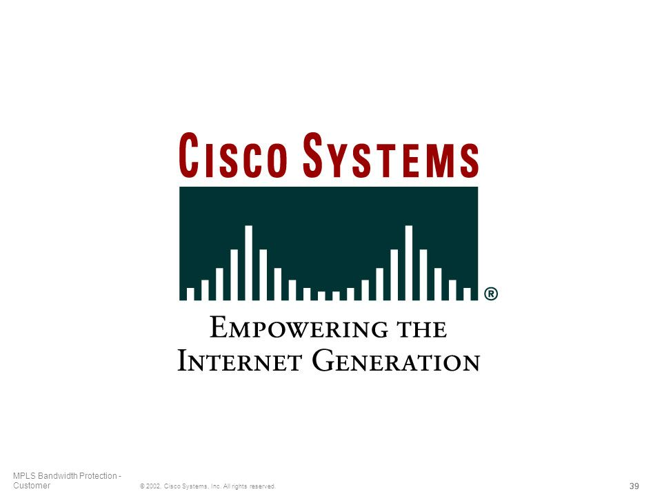 39 © 2002, Cisco Systems, Inc. All rights reserved. MPLS Bandwidth Protection - Customer