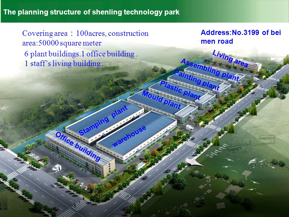 The planning structure of shenling technology park Stamping plant warehouse Office building Mould plant Plastic plant Painting plant Assembling plant Living area Address:No.3199 of bei men road Covering area 100acres, construction area:50000 square meter 6 plant buildings.1 office building.
