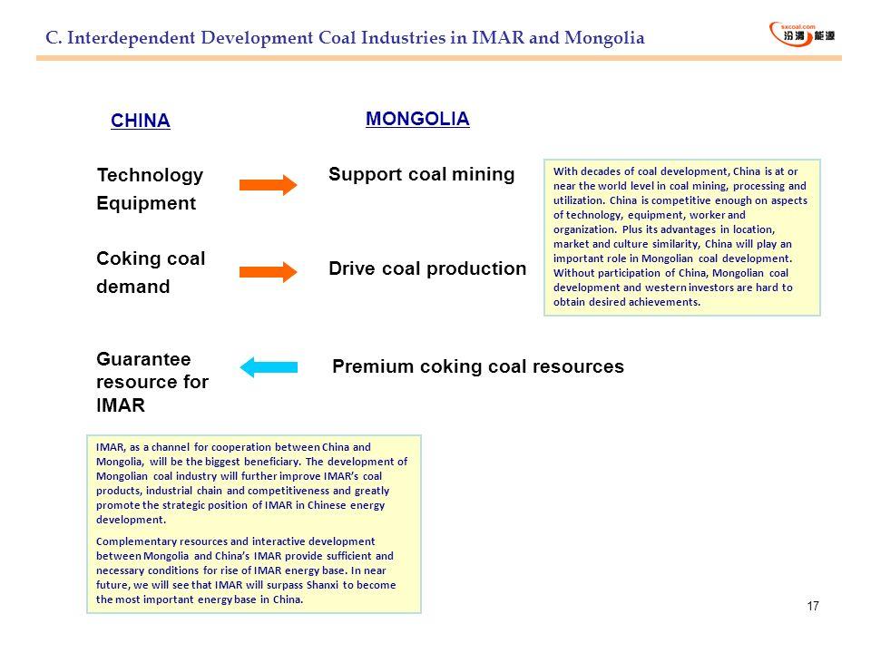 17 Technology Equipment Coking coal demand Premium coking coal resources CHINA MONGOLIA Support coal mining Drive coal production Guarantee resource f