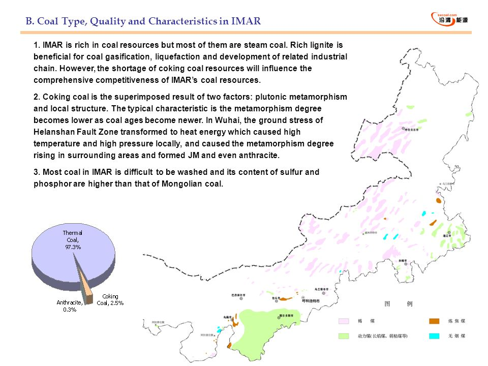 9 B. Coal Type, Quality and Characteristics in IMAR 1. IMAR is rich in coal resources but most of them are steam coal. Rich lignite is beneficial for