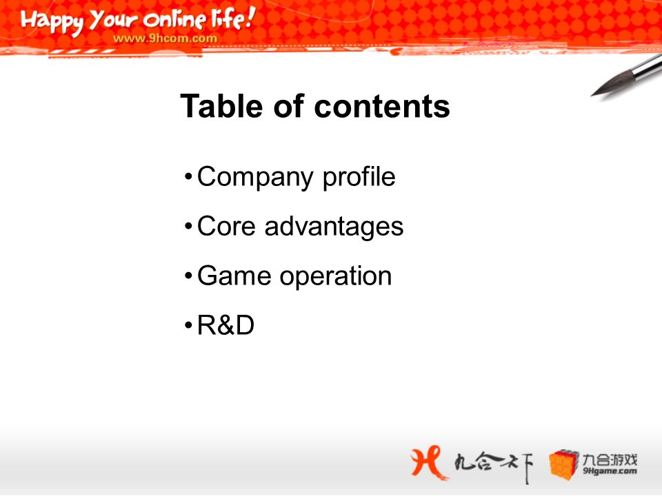 Company profile Core advantages Game operation R&D Table of contents
