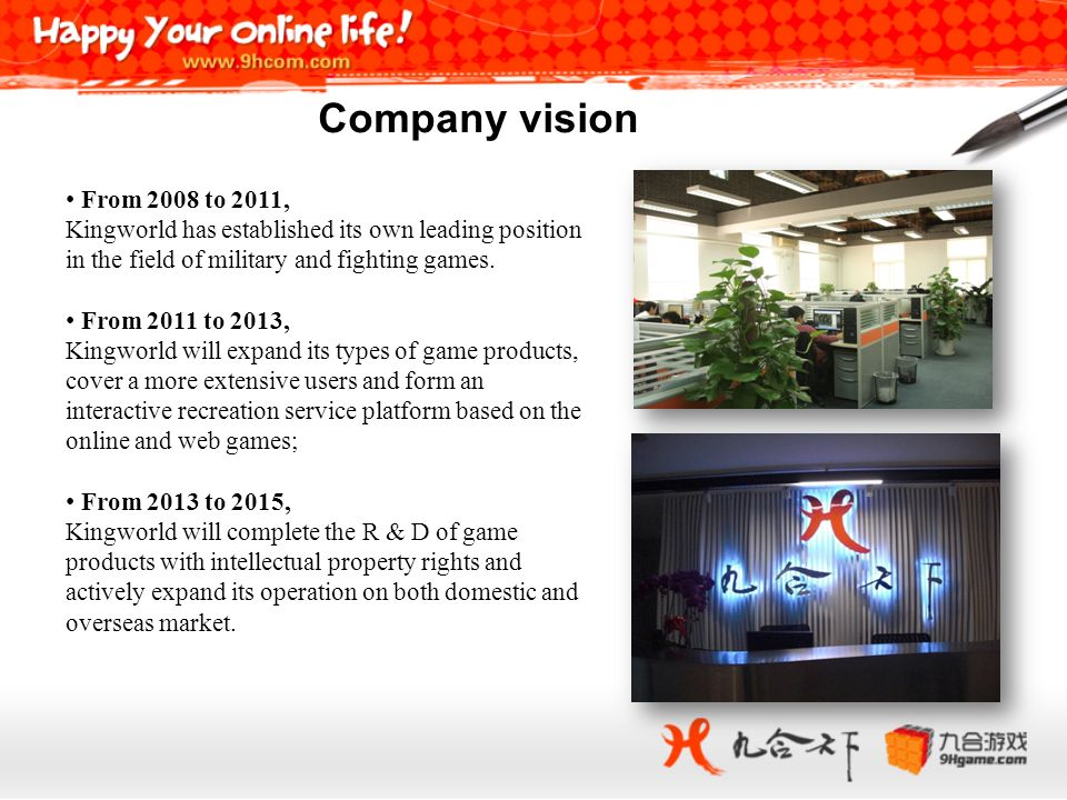 From 2008 to 2011, Kingworld has established its own leading position in the field of military and fighting games. From 2011 to 2013, Kingworld will e