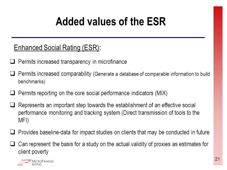 21 Added values of the ESR Permits increased transparency in microfinance Permits increased comparability ( Generate a database of comparable information to build benchmarks) Permits reporting on the core social performance indicators (MIX) Represents an important step towards the establishment of an effective social performance monitoring and tracking system (Direct transmission of tools to the MFI) Provides baseline-data for impact studies on clients that may be conducted in future Can represent the basis for a study on the actual validity of proxies as estimates for client poverty Enhanced Social Rating (ESR):