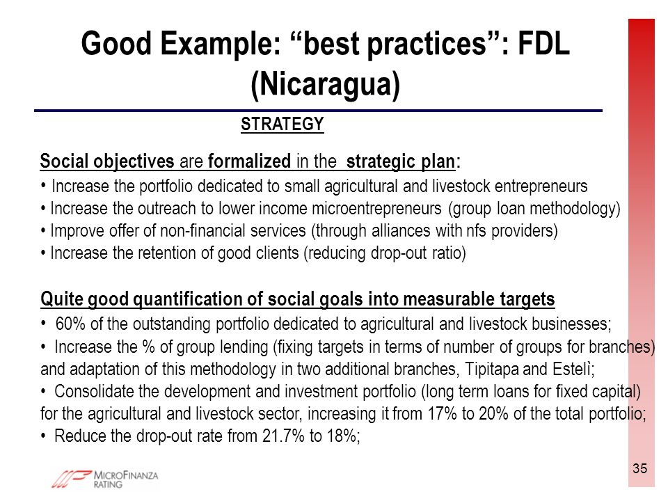 35 Good Example: best practices: FDL (Nicaragua) STRATEGY Social objectives are formalized in the strategic plan: Increase the portfolio dedicated to small agricultural and livestock entrepreneurs Increase the outreach to lower income microentrepreneurs (group loan methodology) Improve offer of non-financial services (through alliances with nfs providers) Increase the retention of good clients (reducing drop-out ratio) Quite good quantification of social goals into measurable targets 60% of the outstanding portfolio dedicated to agricultural and livestock businesses; Increase the % of group lending (fixing targets in terms of number of groups for branches) and adaptation of this methodology in two additional branches, Tipitapa and Estelì; Consolidate the development and investment portfolio (long term loans for fixed capital) for the agricultural and livestock sector, increasing it from 17% to 20% of the total portfolio; Reduce the drop-out rate from 21.7% to 18%;