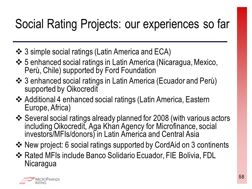 58 Social Rating Projects: our experiences so far 3 simple social ratings (Latin America and ECA) 5 enhanced social ratings in Latin America (Nicaragua, Mexico, Perù, Chile) supported by Ford Foundation 3 enhanced social ratings in Latin America (Ecuador and Perù) supported by Oikocredit Additional 4 enhanced social ratings (Latin America, Eastern Europe, Africa) Several social ratings already planned for 2008 (with various actors including Oikocredit, Aga Khan Agency for Microfinance, social investors/MFIs/donors) in Latin America and Central Asia New project: 6 social ratings supported by CordAid on 3 continents Rated MFIs include Banco Solidario Ecuador, FIE Bolivia, FDL Nicaragua
