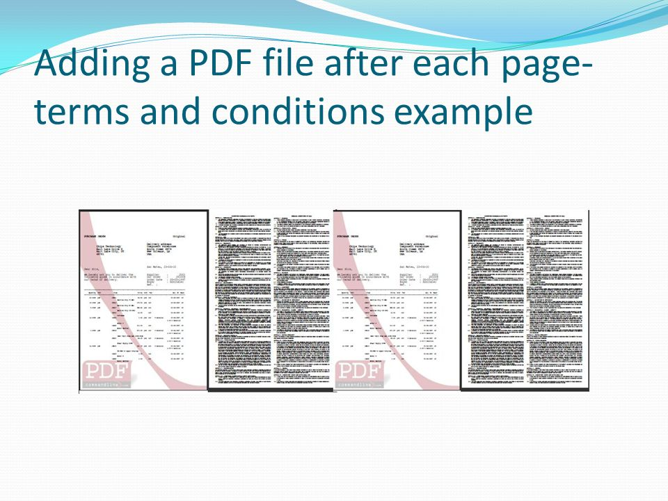 Adding a PDF file after each page- terms and conditions example