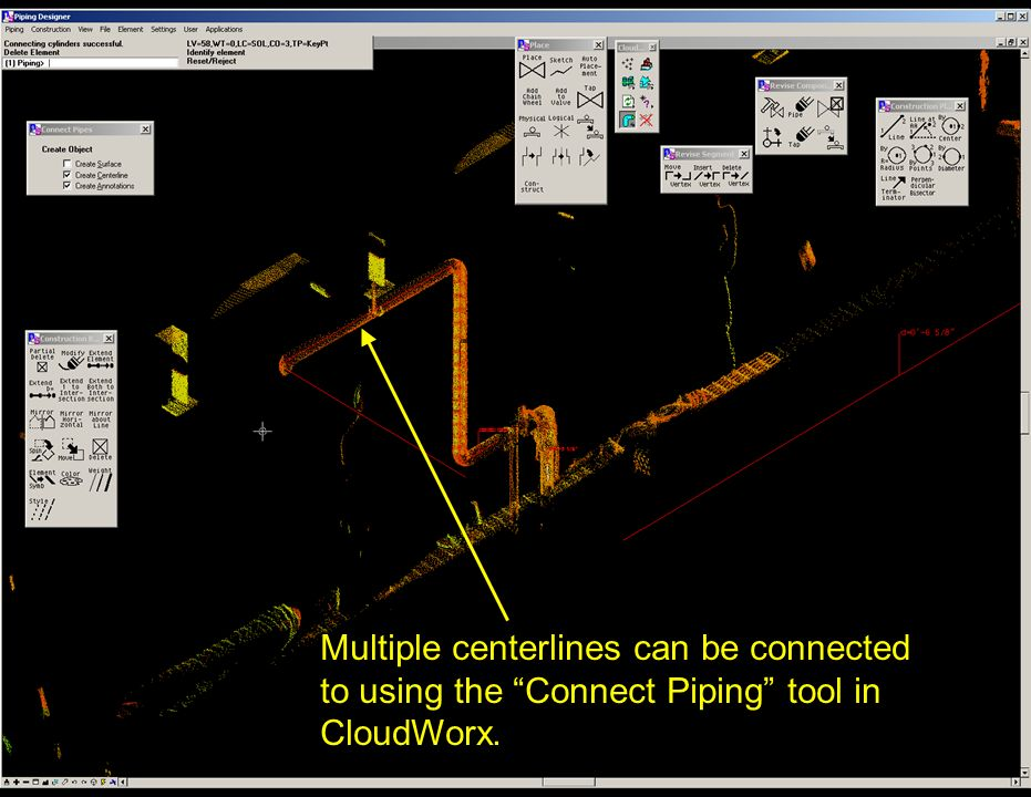 Multiple centerlines can be connected to using the Connect Piping tool in CloudWorx.