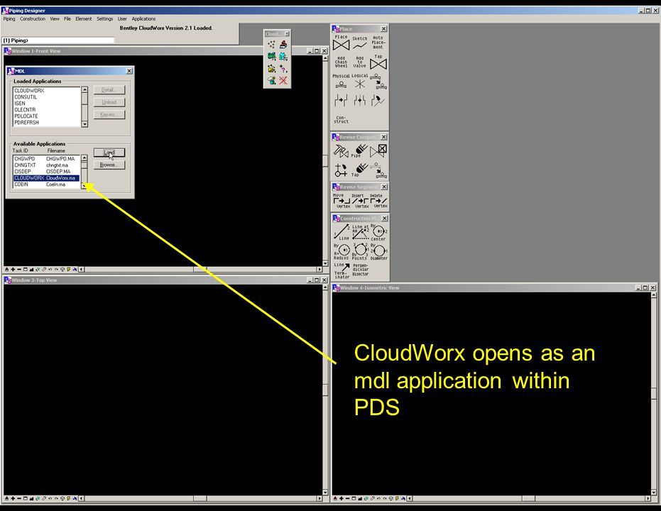 CloudWorx opens as an mdl application within PDS