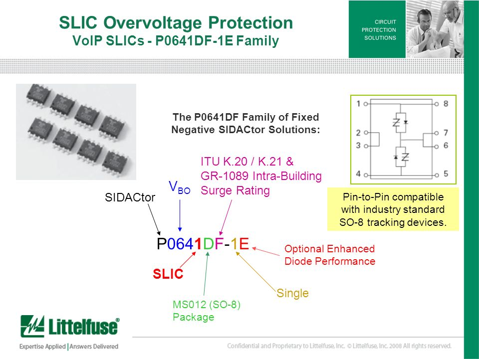 11 Version01_100407 SLIC Overvoltage Protection VoIP SLICs - P0641DF-1E Family The P0641DF Family of Fixed Negative SIDACtor Solutions: P0641DF-1E V B
