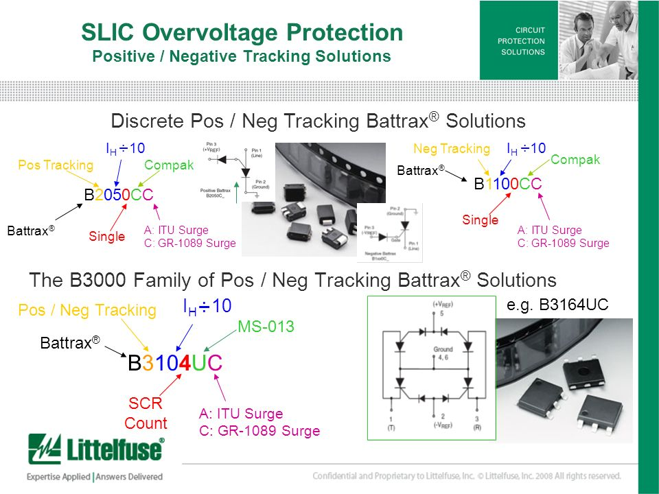 13 Version01_100407 SLIC Overvoltage Protection Positive / Negative Tracking Solutions The B3000 Family of Pos / Neg Tracking Battrax ® Solutions B310