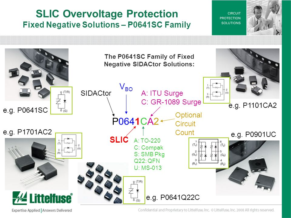 5 Version01_100407 SLIC Overvoltage Protection Fixed Negative Solutions – P0641SC Family The P0641SC Family of Fixed Negative SIDACtor Solutions: P064
