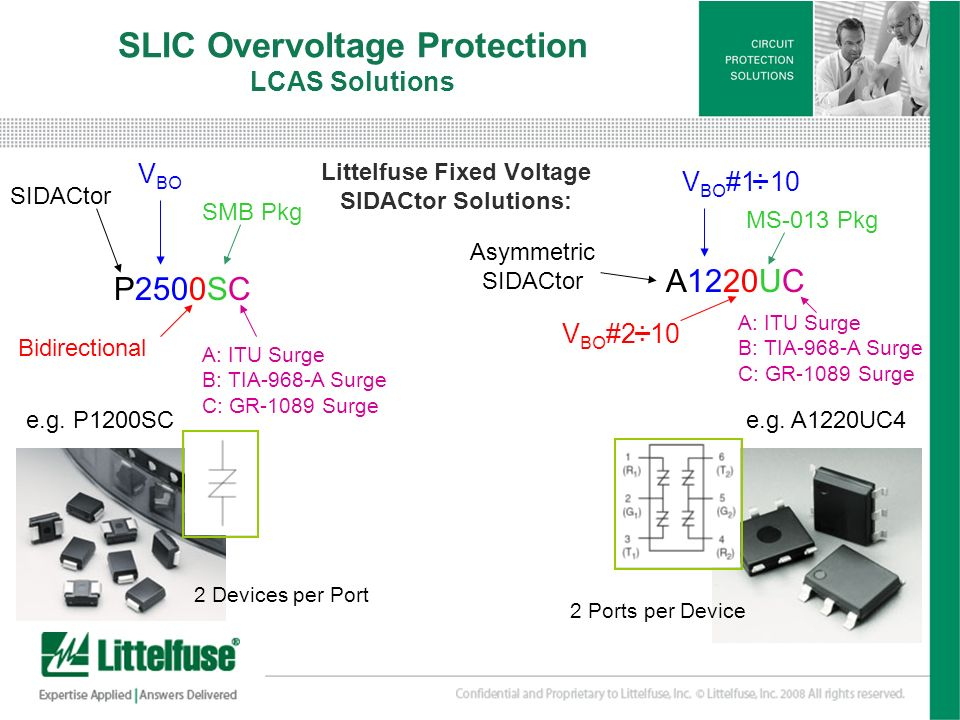 7 Version01_100407 V BO #2 10 V BO #1 10 SLIC Overvoltage Protection LCAS Solutions Littelfuse Fixed Voltage SIDACtor Solutions: P2500SC V BO Bidirect