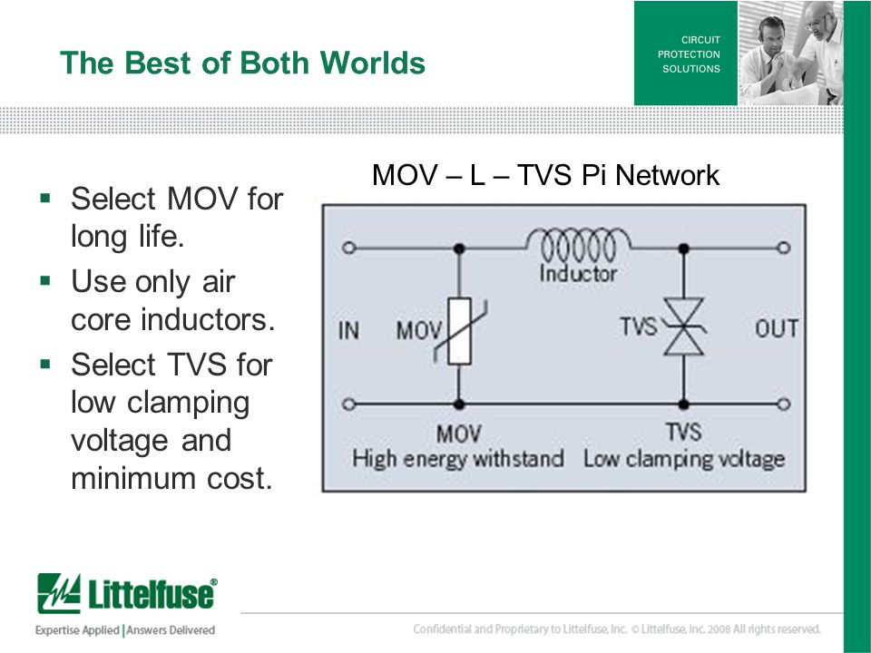 22 Version01_100407 The Best of Both Worlds Select MOV for long life. Use only air core inductors. Select TVS for low clamping voltage and minimum cos