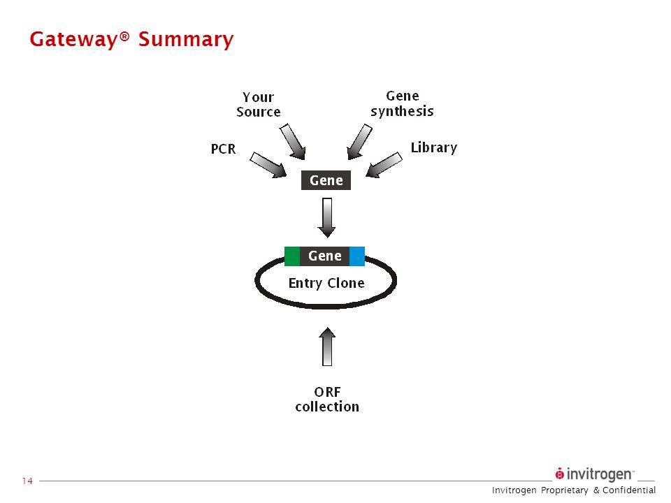 Invitrogen Proprietary & Confidential 14 Gateway® Summary