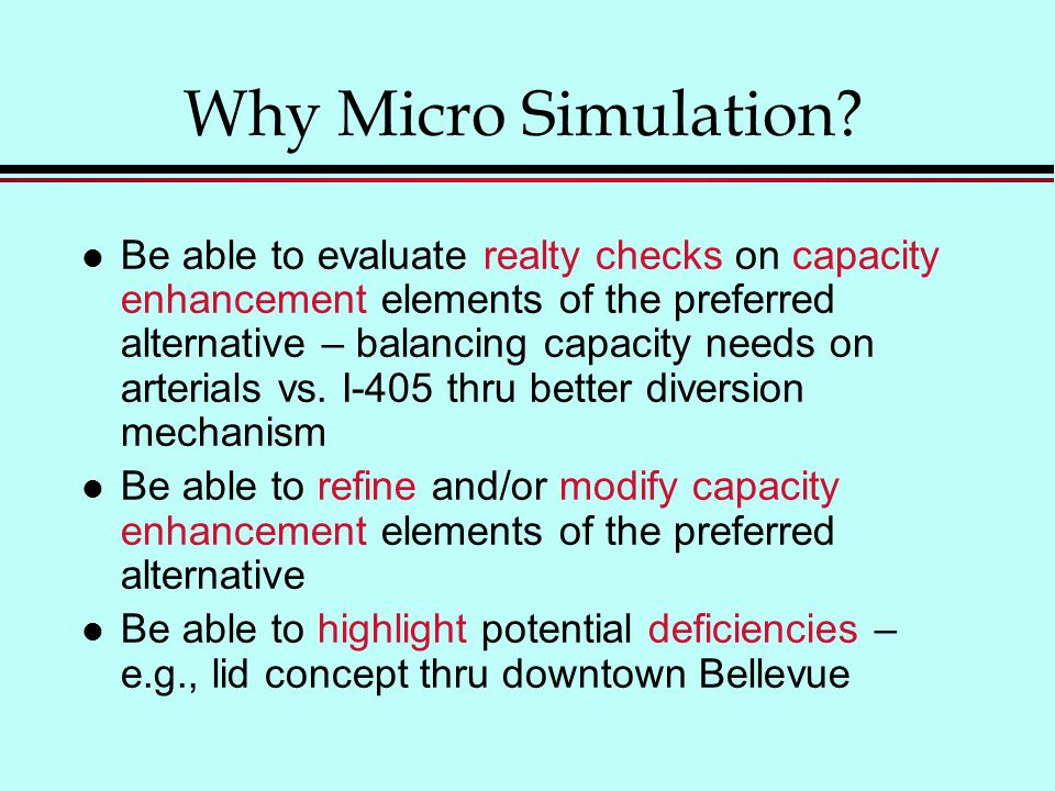 Why Micro Simulation.